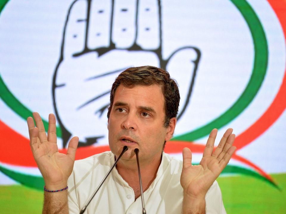Le président du parti du Congrès indien, Rahul Gandhi, lors d'une conférence de presse après sa défaite, le 23 mai 2019, à New Delhi.