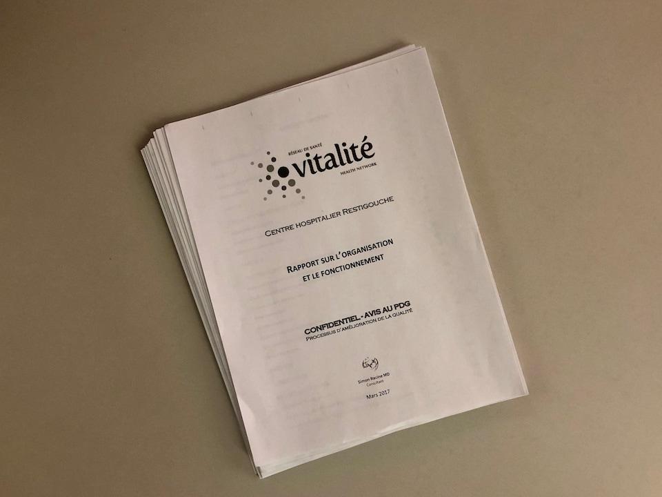 Le rapport du Dr Simon Racine a été remis au Réseau de santé Vitalité en mars 2017.