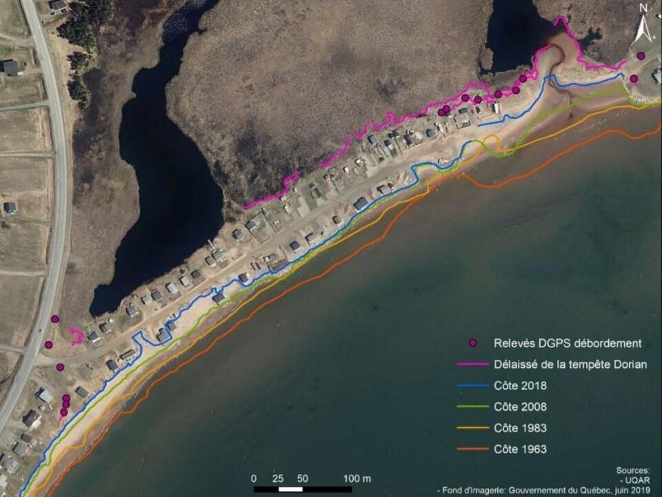 Des lignes montrent le recul de la côte de 1963 à 2019.