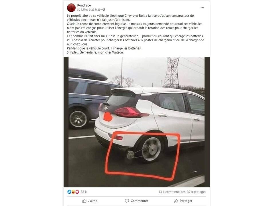 Une publication Facebook avec la photo d'une Chevrolet Bolt munie d'un générateur attaché à sa roue.