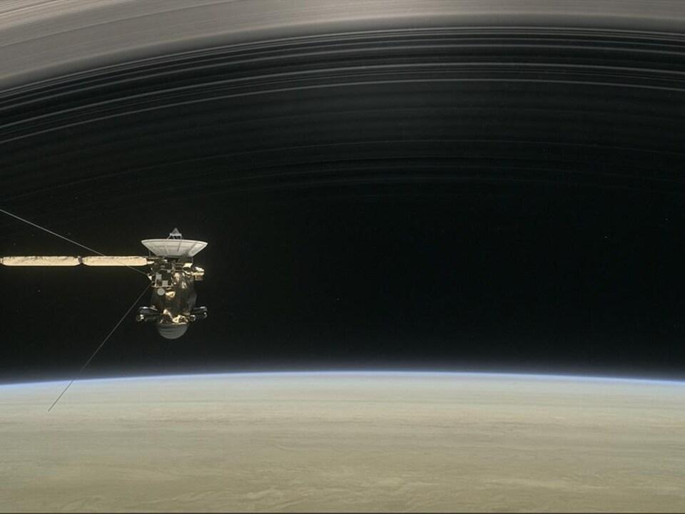 Illustration de la sonde Cassini et des anneaux de Saturne.