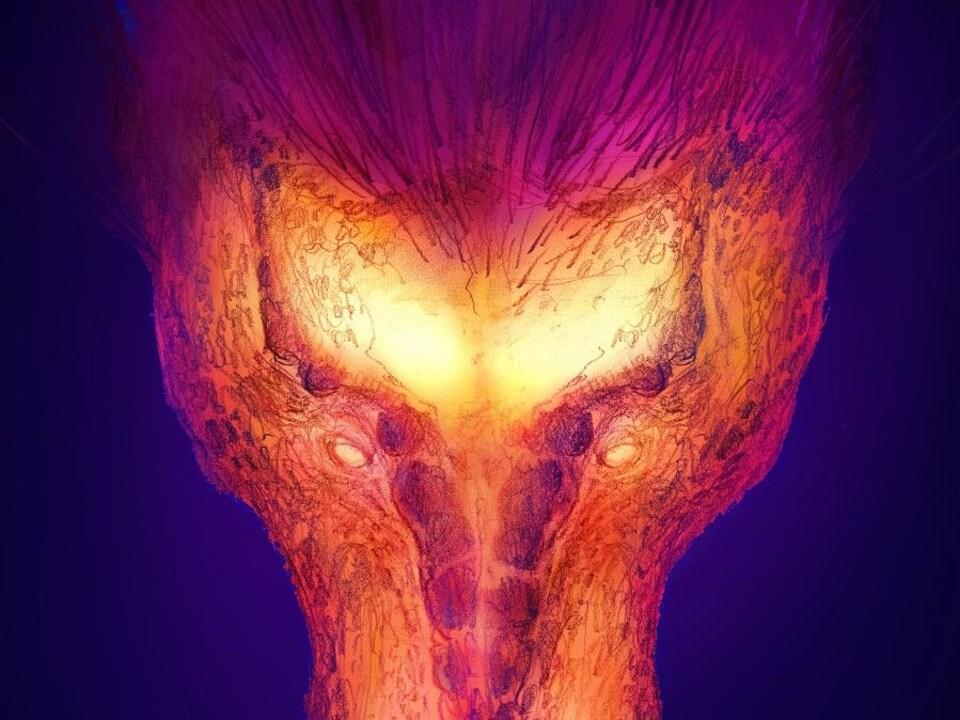 Image thermique graphique d'un crâne de T. rex.