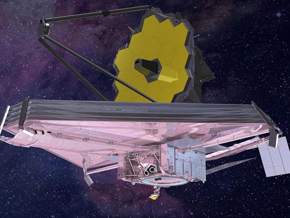 Représentation d'artiste du télescope James-Webb dans l'espace.
