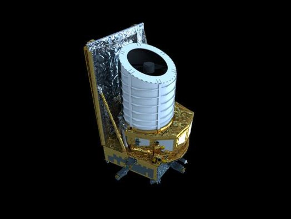 Représentation du télescope spatial Euclide dans l'espace.