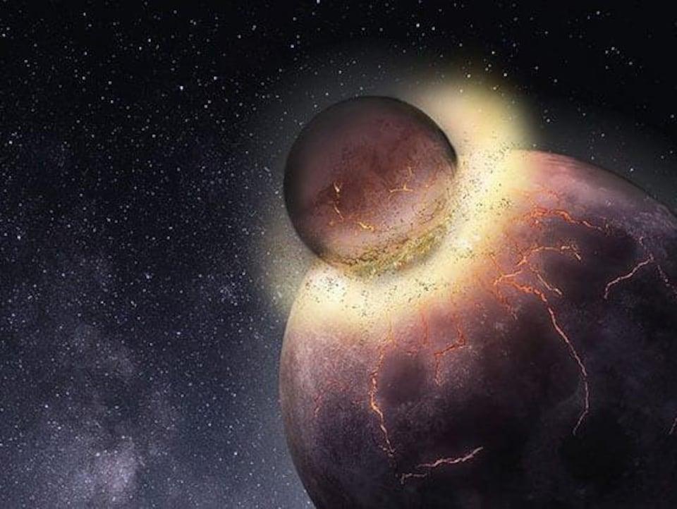 Représentation artistique de la collision entre une protoplanète et la Terre.
