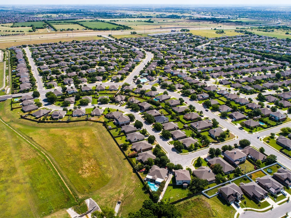 Vue aérienne de la ville de Pflugerville, au Texas.