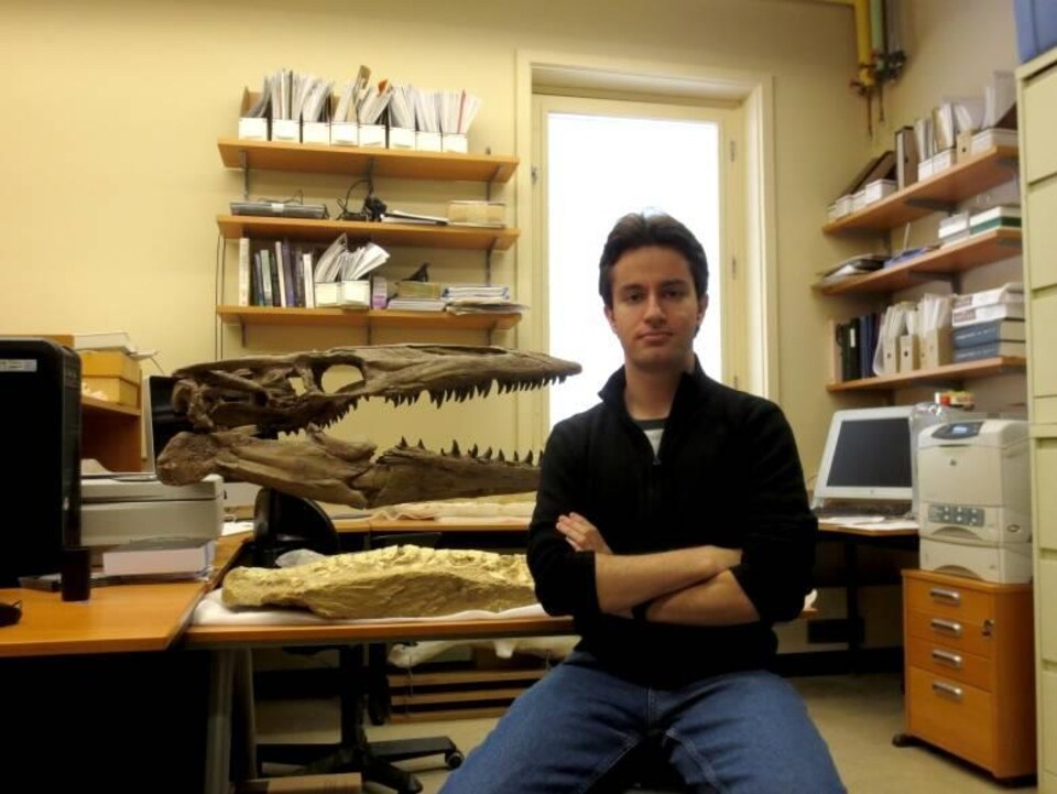 Le paléontologue Tiago Simões devant des fossiles.