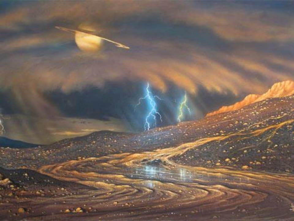 Représentation artistique d'une pluie de méthane à la surface de Titan.