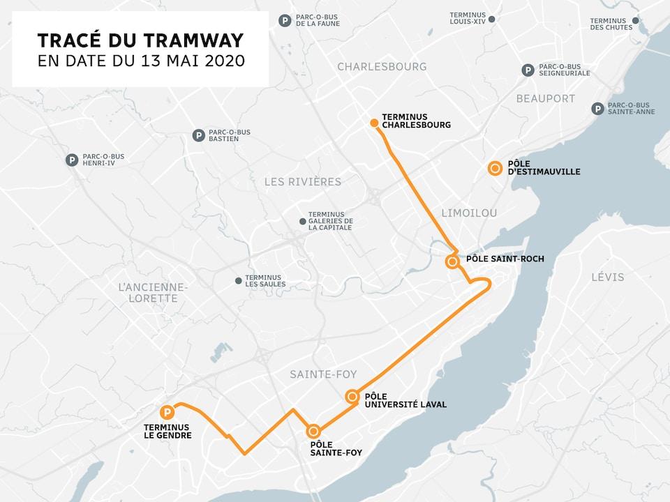 Carte du tracé du tramway.
