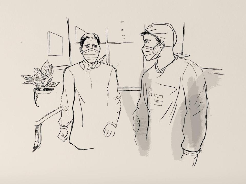 Deux hommes portant un masque et une blouse médicale se regardent dans les yeux