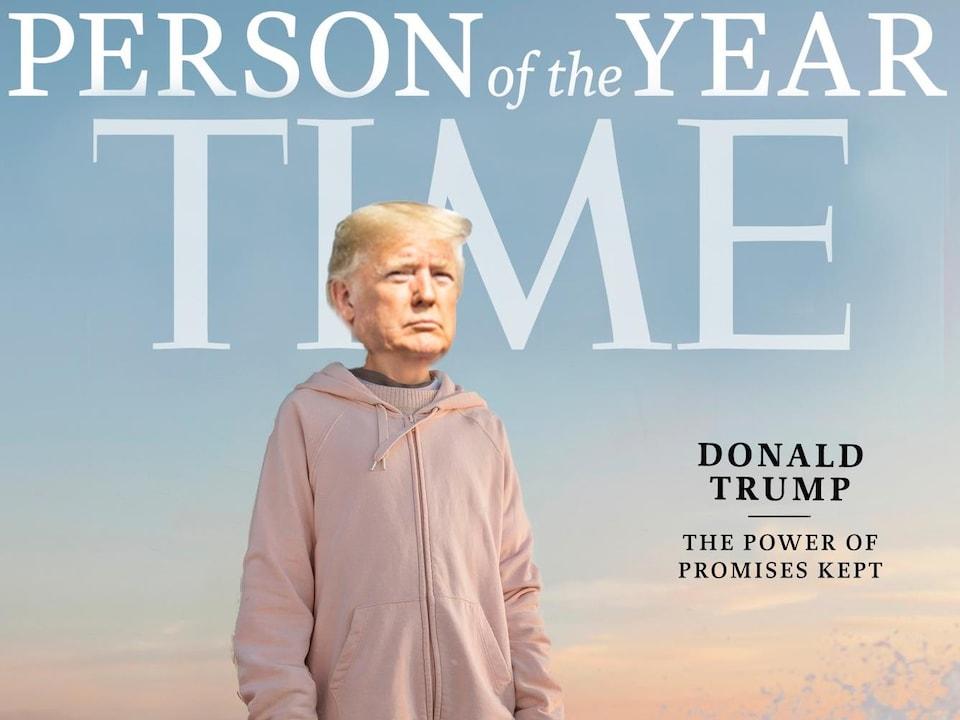 La version retouchée de la une du magazine Time consacrée à la personnalité de l'année où on voit le visage de Donald Trump sur le corps de Greta Thunberg.