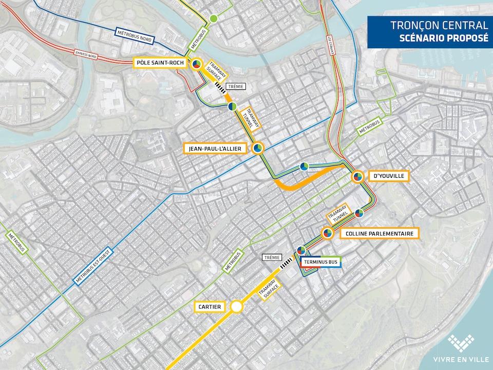Carte globale du scénario proposé par Vivre en ville.
