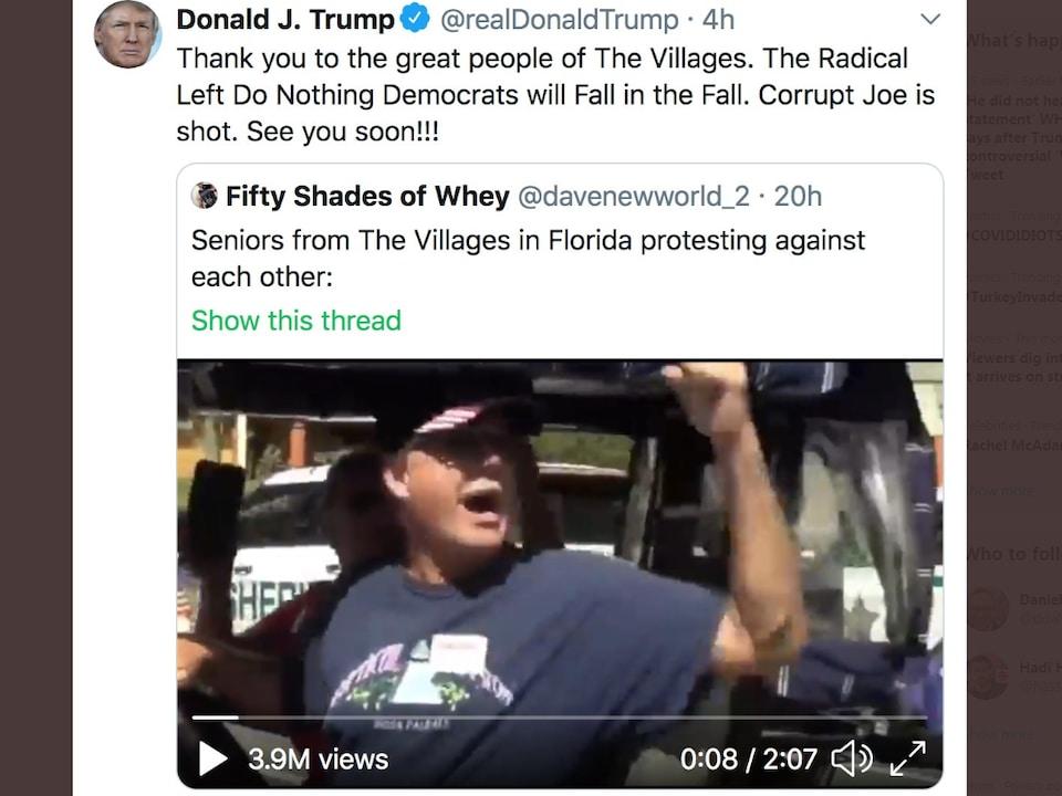 Capture d'écran montrant le message de Donald Trump.