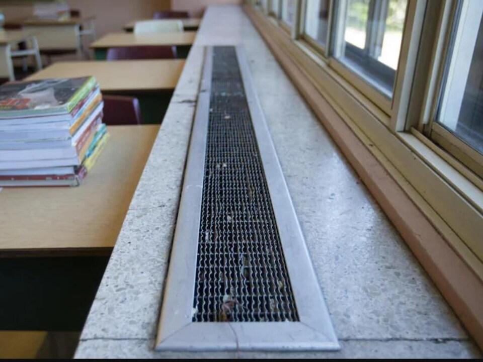 Une pile de livres sur un pupitre près de fenêtres dans une classe.