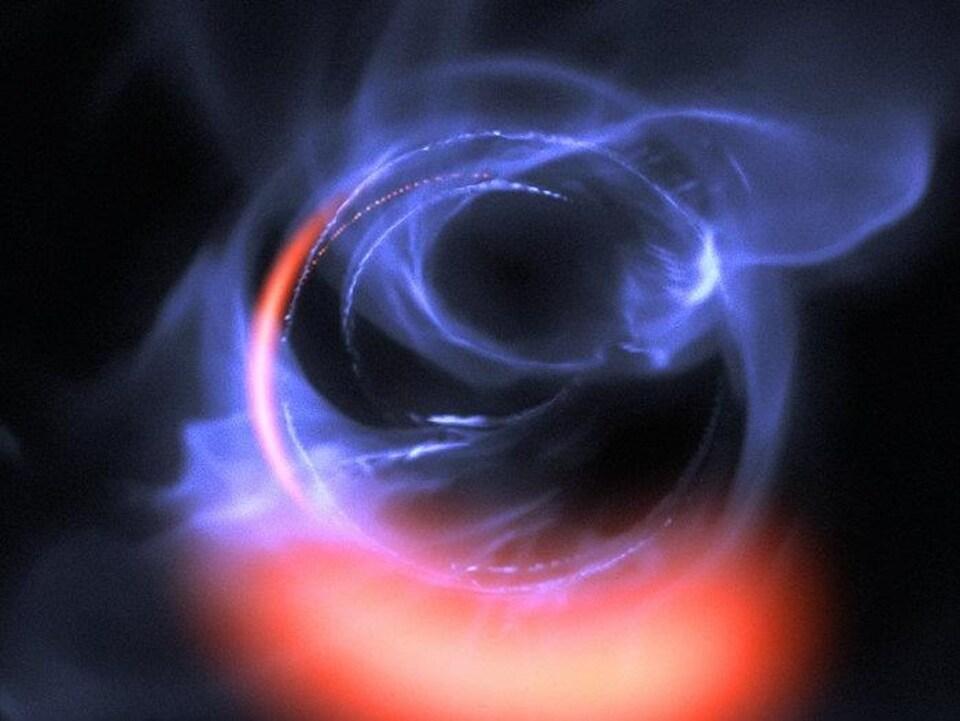Représentation artistique de matière orbitant autour d'un trou noir.