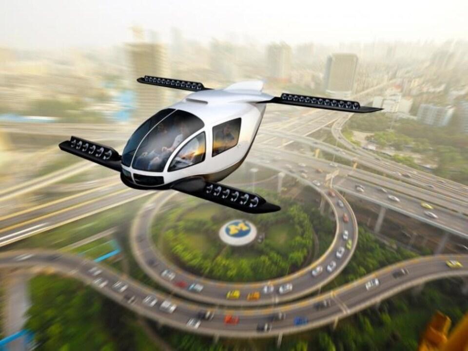 Illustration d'une voiture volante au-dessus d'une autoroute.