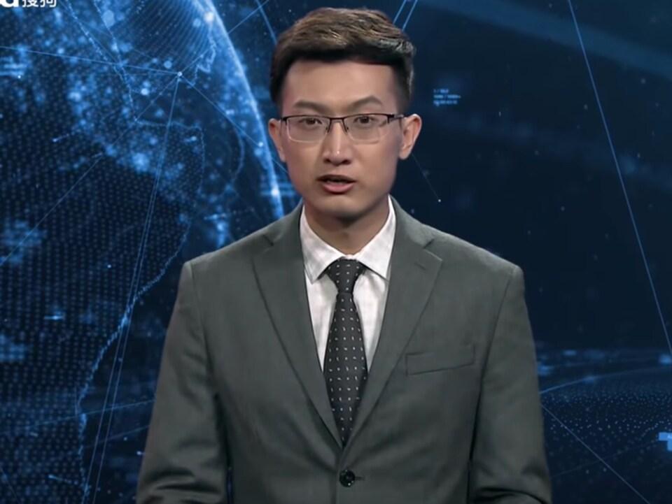 Le présentateur virtuel anglophone de l'agence Xinhua.