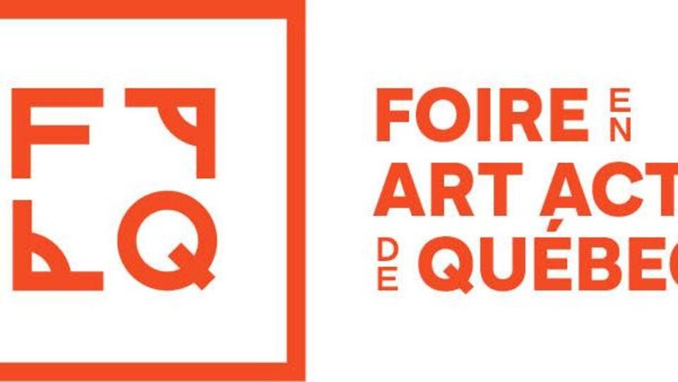 Logo orange et blanc de la Foire en art actuel 2020 prévue en mai dernier aura lieu du 20 novembre au 6 décembre en mode virtuel.