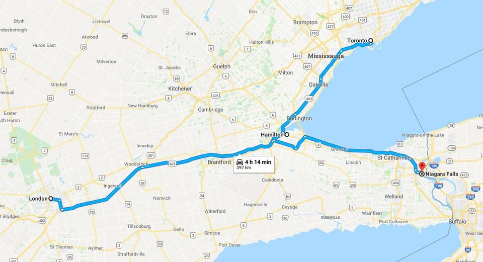 Le trajet 3 illustré sur une carte.