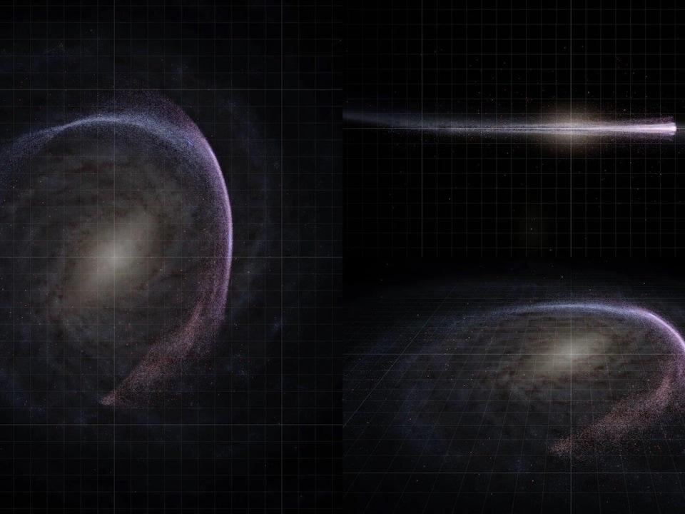 Le mouvement de près de 75 000 étoiles du catalogue Gaia autour du centre de la galaxie.