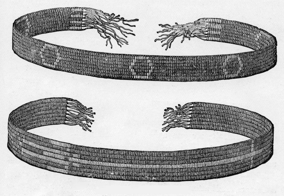 Decorated Wampum Belts, published in 1887. Wampum are shell beads, sacred to many Native American tribes of the east. Wampum belts are used to mark many occasions, ranging from marriages to condolence ceremonies.  (Photo by Culture Club/Getty Images) *** Local Caption ***