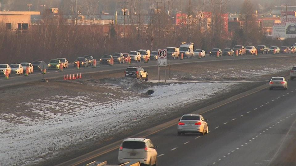 Congestion sur l'autoroute 640.