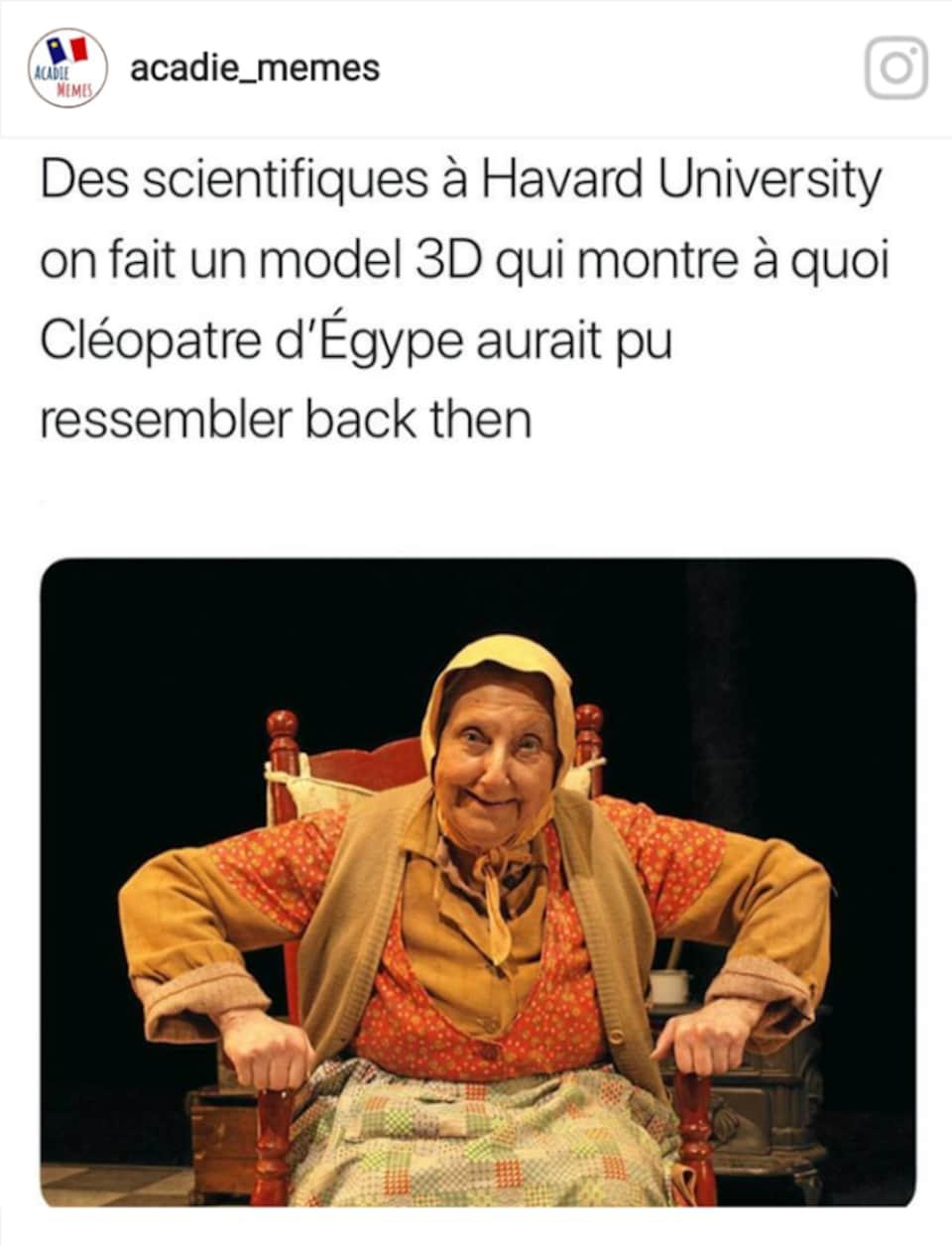 Un mème compare la Sagouine à ce à quoi pouvait ressembler la reine Cléopâtre en Égypte ancienne.