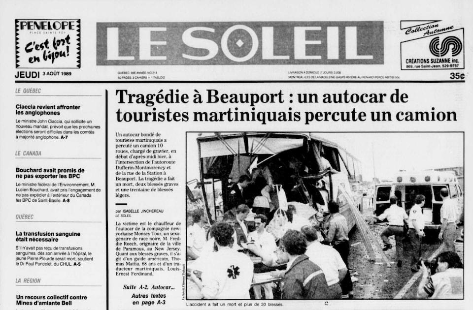 La une du quotidien Le Soleil du 3 août 1989.