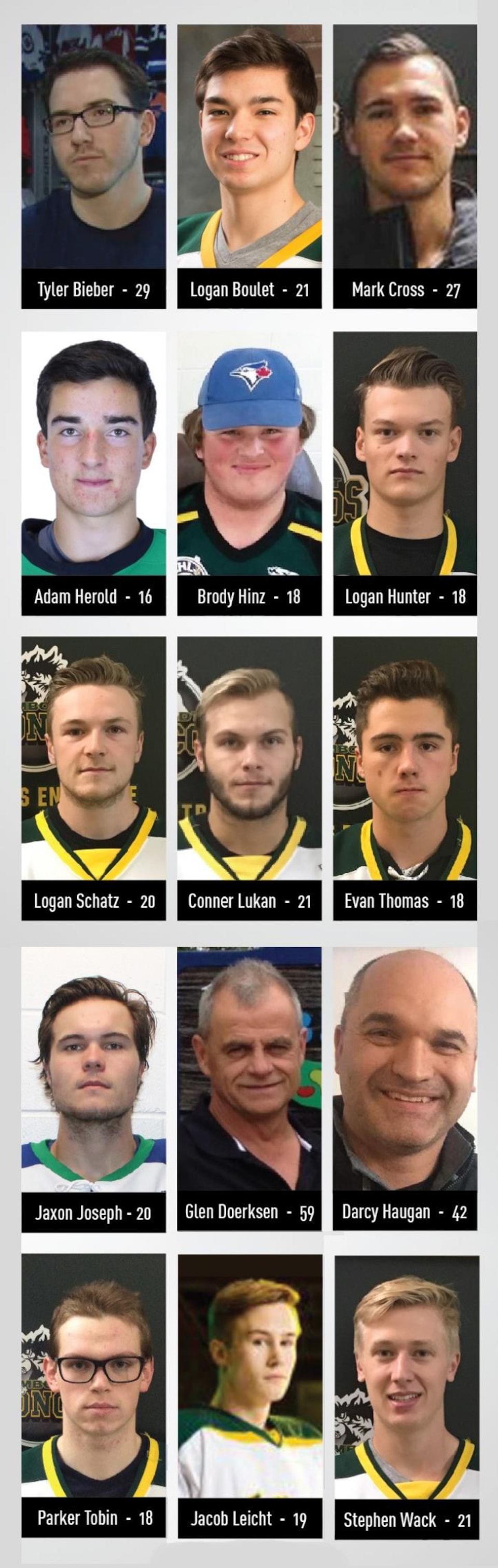 Identité des 15 victimes de l'accident : Tyler Bieber, 29 ans; Logan Boulet, 21 ans; Mark Cross, 27 ans; Glen Doerksen, 59 ans; Darcy Haugan, 42 ans; Adam Herold, 16 ans; Brody Hinz, 18 ans; Logan Hunter, 18 ans; Jaxon Joseph, 20 ans; Jacob Leicht, 19 ans; Logan Schatz, 20 ans; Connor Lukan, 21 ans; Evan Thomas, 18 ans; Parker Tobin, 18 ans; Stephen Wack, 21 ans.