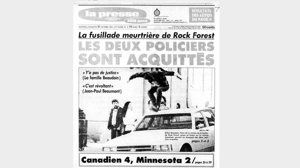 Une de La Presse au lendemain de l'acquittement d'André Castonguay.