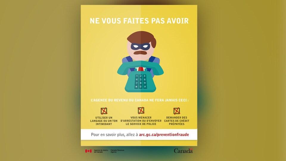 Une affiche de l'Agence du revenu du Canada met en garde les citoyens contre les appels frauduleux qu'ils pourraient recevoir.