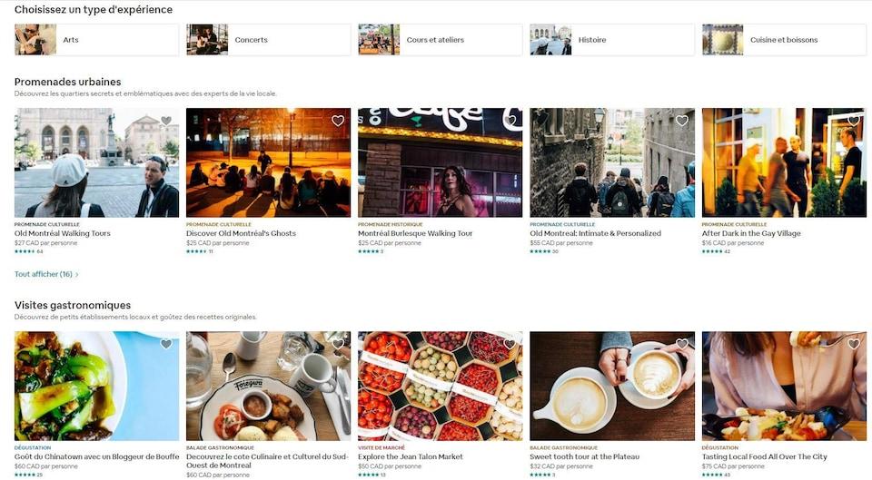 Depuis la fin d'avril, il est possible d'acheter des Expériences Airbnb dans le Grand Montréal. La photo est une capture d'écran des différents types d'activités offertes : promenades urbaines, visites gastronomiques, etc.