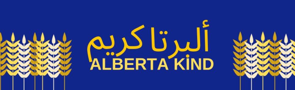 Un signe Alberta Kind en anglais et arabe, sur fond bleu avec des éépis de blé doré sur les côtés