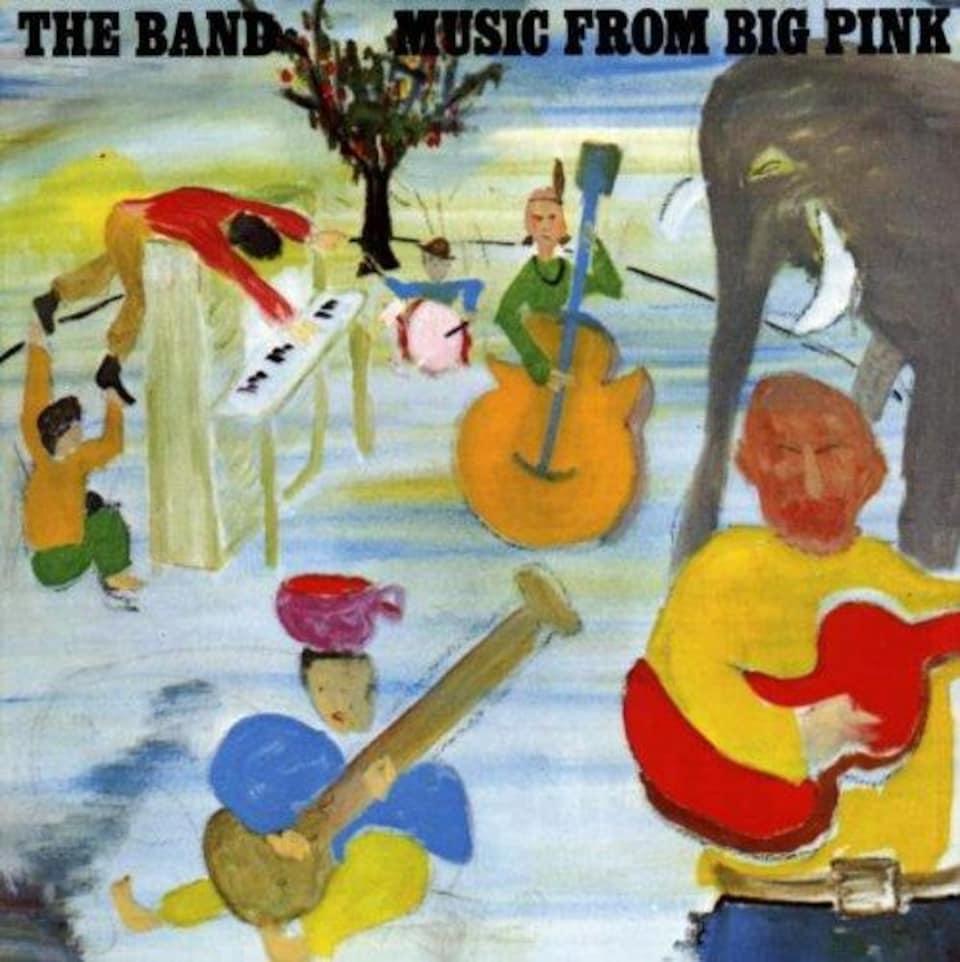 Un dessin où on voit cinq musiciens jouer et un éléphant