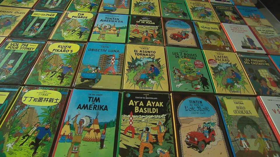 Les albums de Tintin en différentes langues font partie de l'exposition