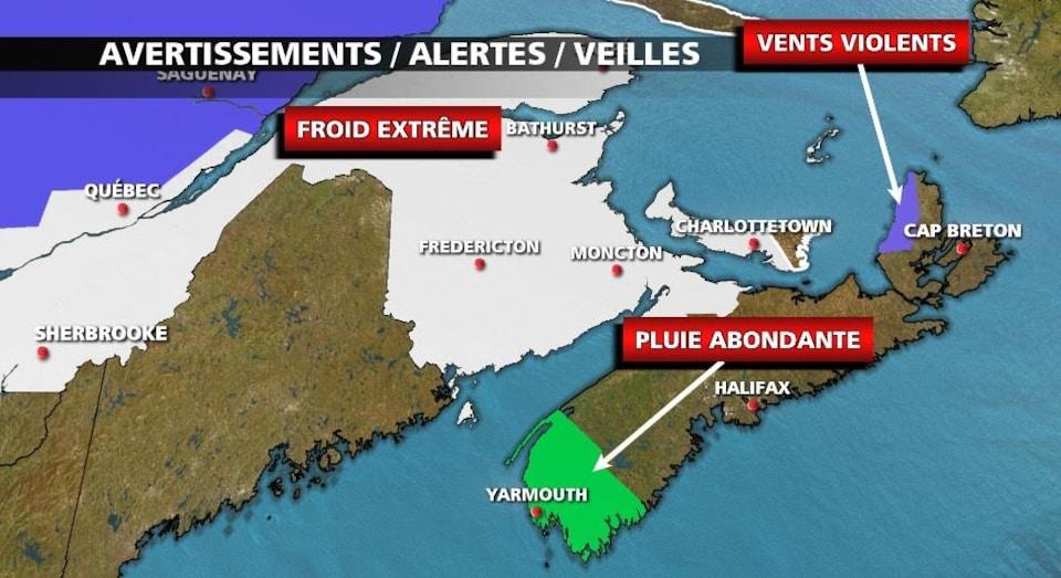 Une carte montre les régions sujettes aux alertes d'Environnement Canada.