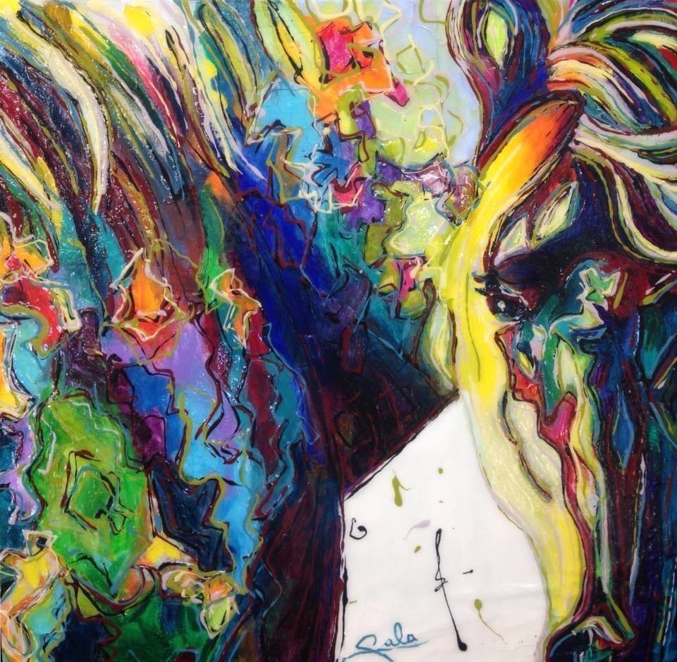 Peinture d'un cheval coloré d'une multitude de couleurs.