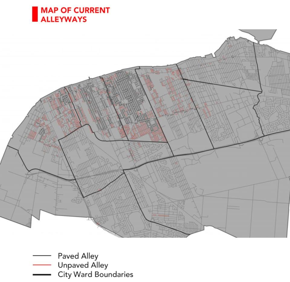 La carte de Windsor, on y voit les allées de la ville dessinées.