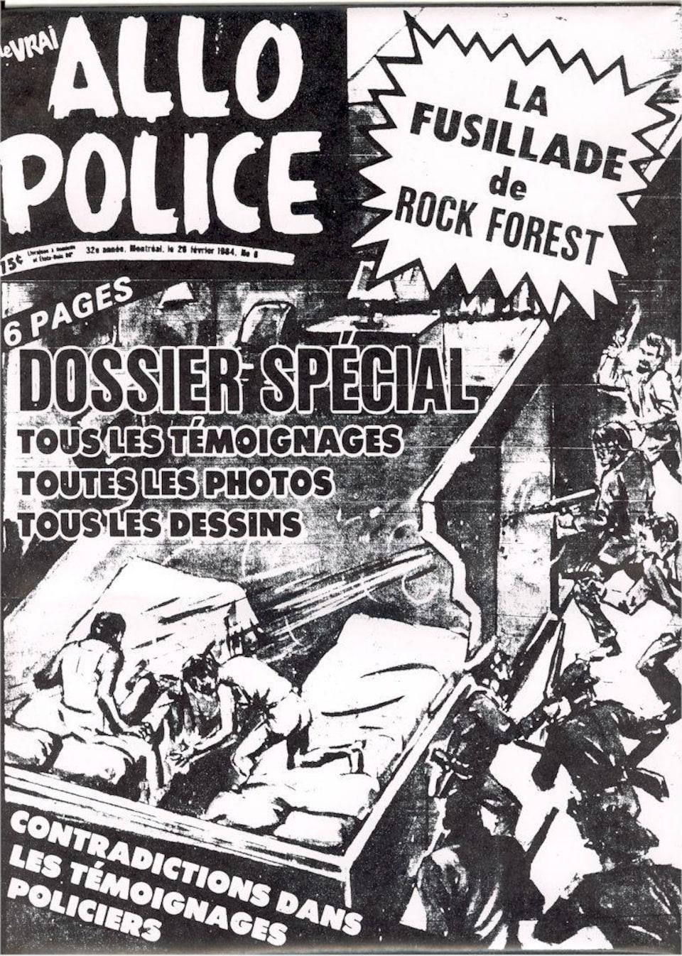 La une d'un hebdomadaire publié lors de l'enquête du coroner en février 1984.