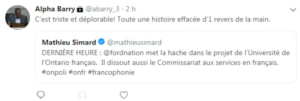 Tweet de Alpha Barry.