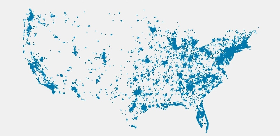 Plusieurs points couvrent une carte des États-Unis, avec une plus forte concentration à l'est du pays.