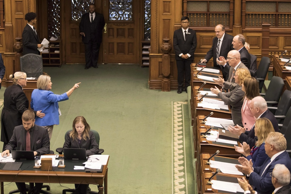 "Ontario NDP Leader Andrea Horwath is ejected from the Queens Park Legislative Chamber as the PC Provincial Government introduce ""The Efficient Local Government Act"" at the Ontario Legislature in Toronto , on Wednesday September 12, 2018. THE CANADIAN PRESS/Chris Young"