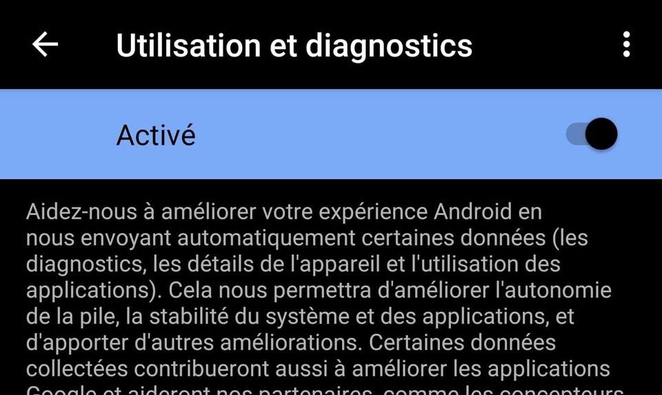 Capture d'écran de la fonctionnalité « utilisation et diagnostics » d'un téléphone Android.