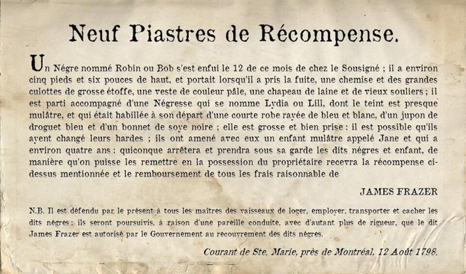 L'annonce offre 9 piastres de récompense pour retrouver les esclaves. On y décrit leur apparence et les vêtements qu'ils portaient quand ils ont pris la fuite.