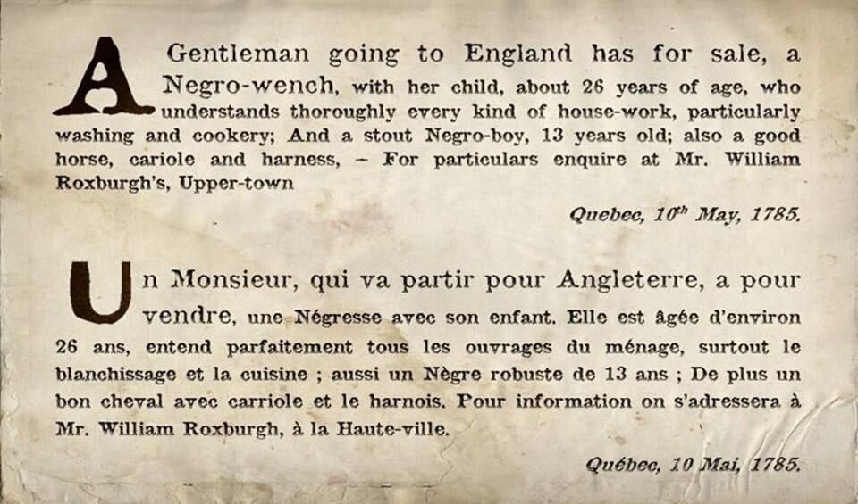 La photo montre une coupure de journal en français et en anglais.