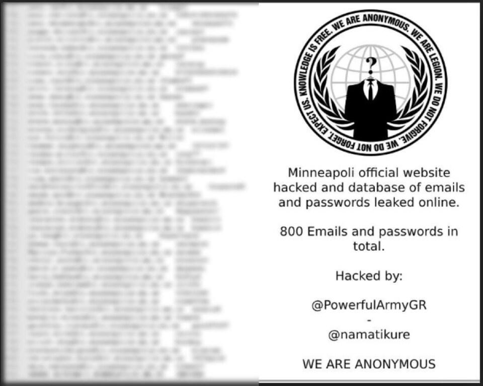 Une capture d'écran d'un document avec le logo d'Anonymous