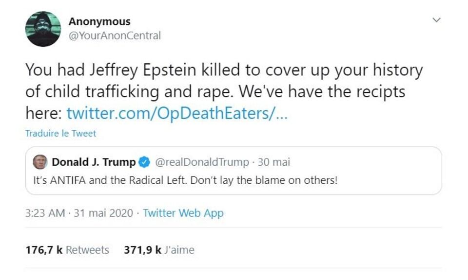Capture d'écran d'un Tweet d'Anonymous dirigé au président Trump.