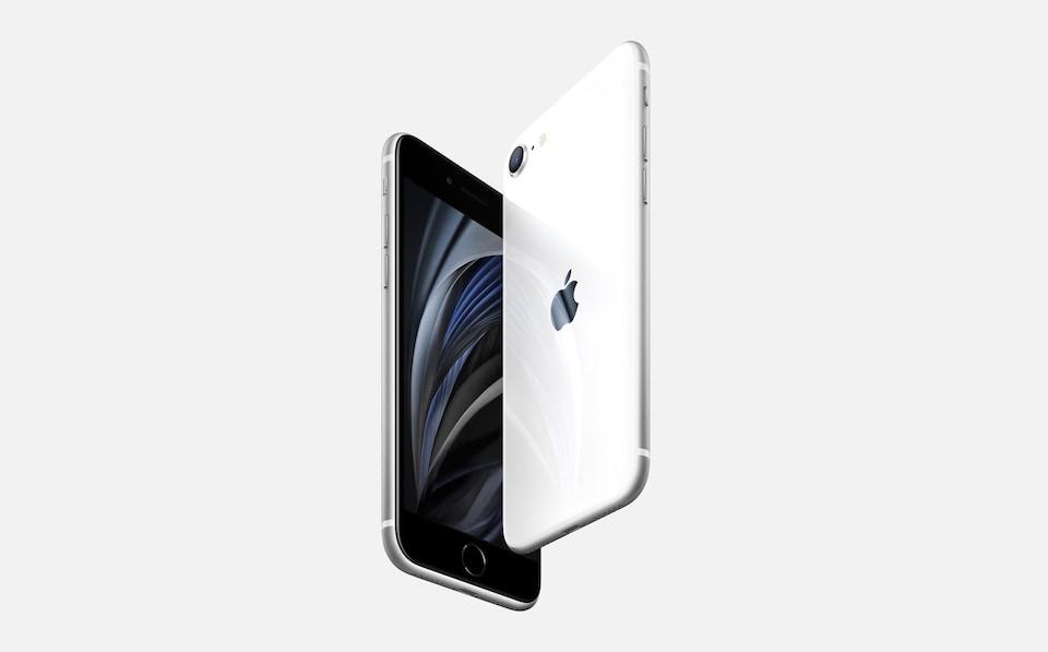 Le nouvel iPhone SE vu de face et de dos.