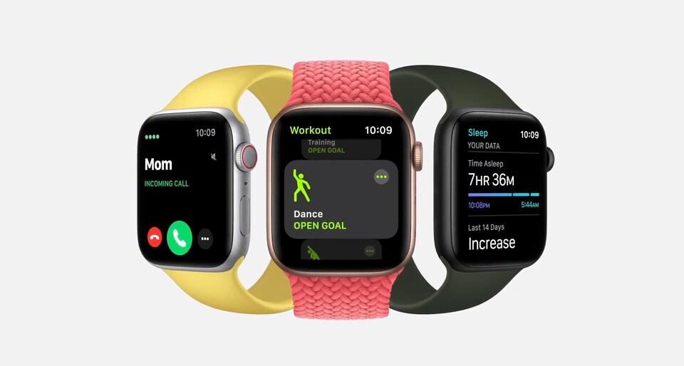 Trois montres intelligentes Apple côte à côte.