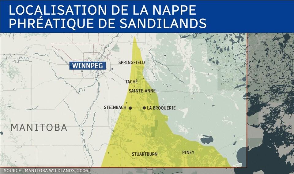 Carte où on peut voir la localisation de la nappe phréatique de Sandilands, notamment située sous les municipalités rurales de La Broquerie, Sainte-Anne, Taché, Springfield, Piney et Stuartburn.